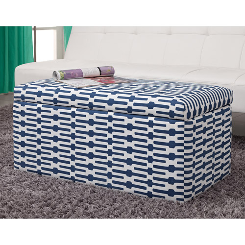 Aria Rectangular Storage Ottoman, Blue/White