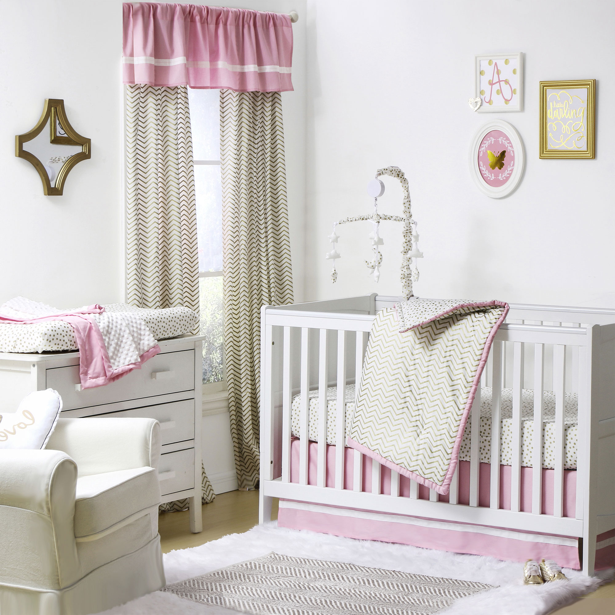 The Peanut Shell 4 Piece Baby Crib Bedding Set - Gold Zig Zag and Polka Dots with Pink Trim - 100% Cotton Quilt, Dust Ruffle, Fitted Sheet, and Mobile