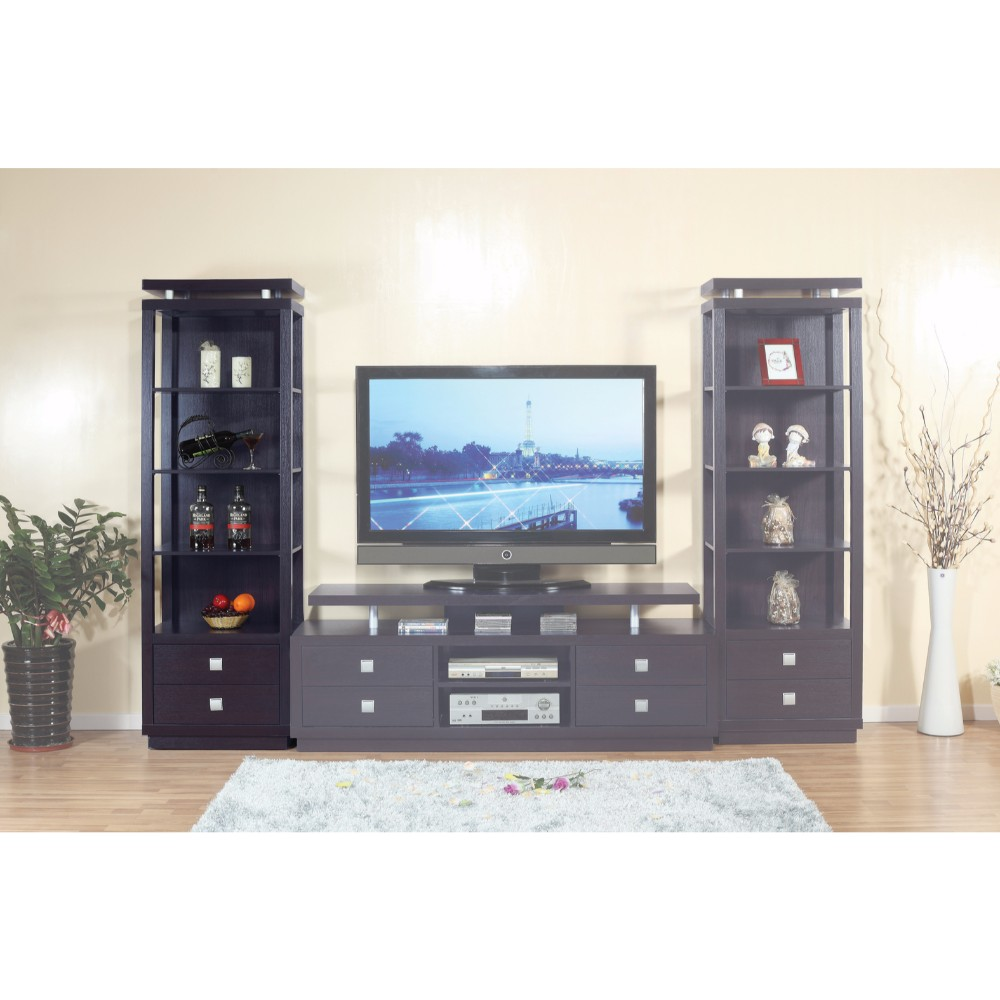 Spacious Media Tower With Square Bar Drawer Handles, Dark Brown