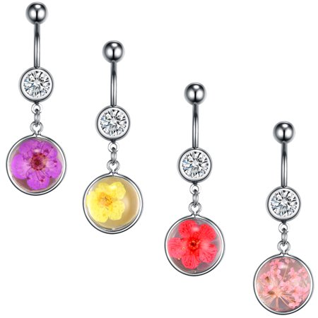 BodyJ4You 4PC Belly Button Rings Dried Flowers Dangle Steel Bar 14G Women Navel Body Piercing