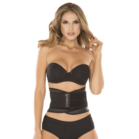 Ursula Latex Adjustable Double Strap Waist Trainer & Trimmer Exercise Belt for Women, Black,