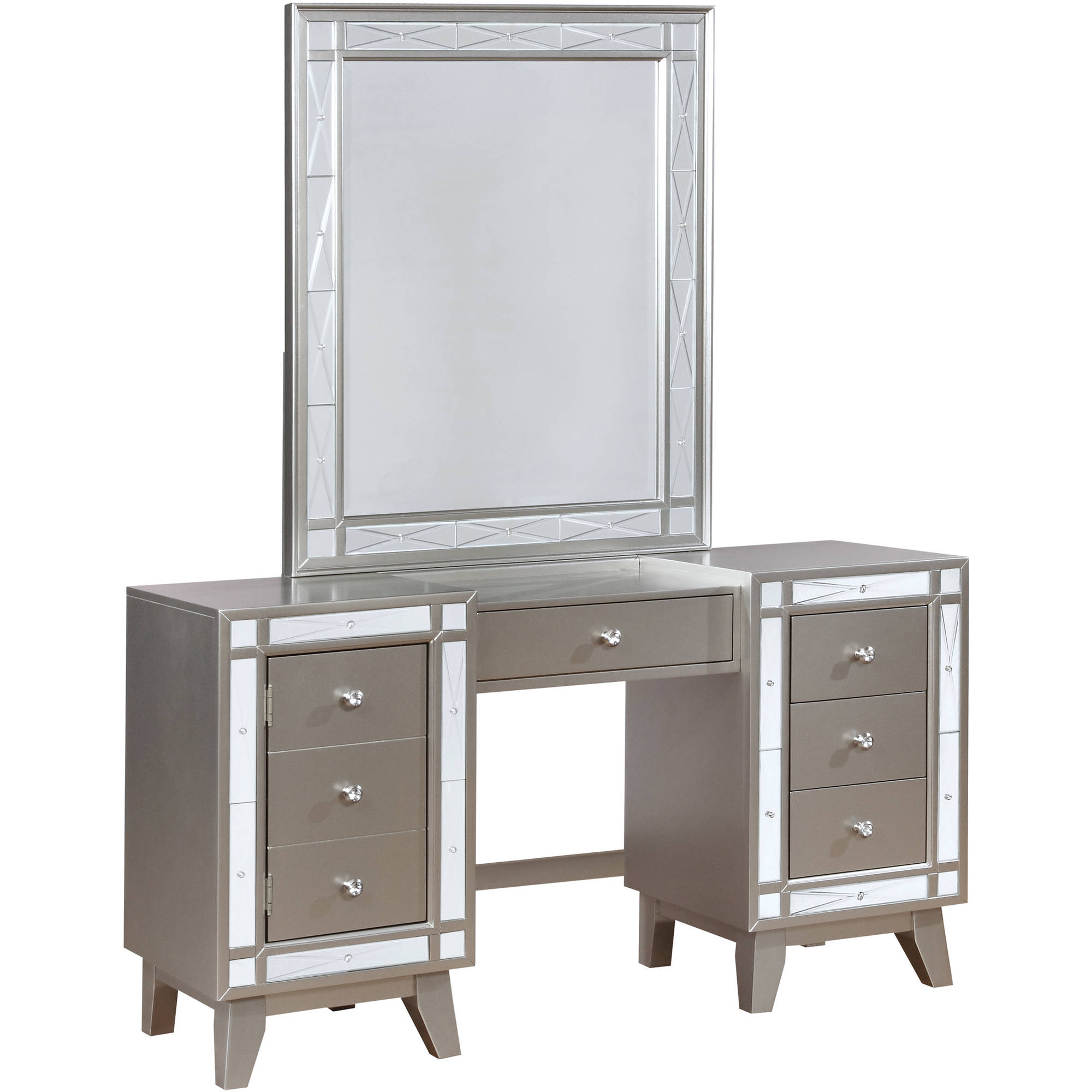 Coaster Company Leighton Vanity Desk and Stool, Metallic Mercury