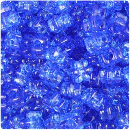 BeadTin Dark Sapphire Transparent 13mm Flower Pony Beads (250pcs)