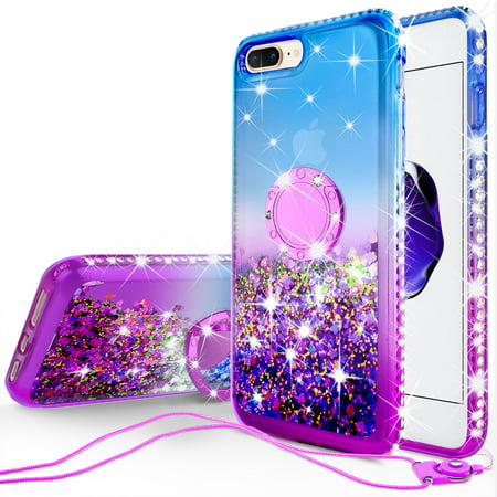 iPhone 7 Plus Case, iPhone 8 Plus Case, Liquid Floating Quicksand Glitter Phone Case Girls Kickstand,Bling Diamond Bumper Ring Stand Protective Pink iPhone 7 Plus/8 Plus Case for Girl Women,Purple