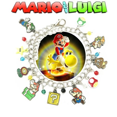 Mario Brothers Bowser and Gumba Charm Bracelet Video Game Series Movie Jewelry Multi Charms - Wristlet - Superheroes Brand Movie Collection for $<!---->