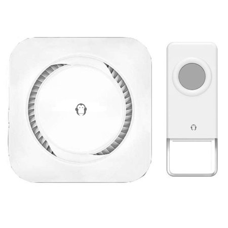 Wireless Waterproof Doorbell / Panic Button, B16 Series, 52 Chimes, White - 1,000 Ft Range ()