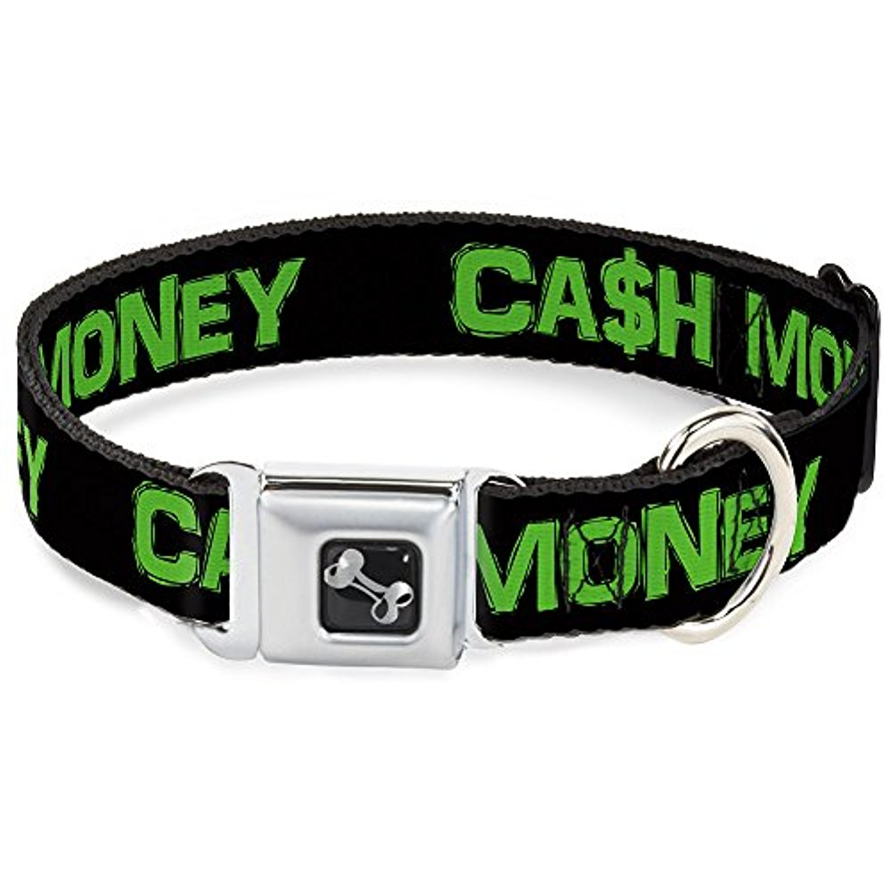 "Buckle-Down 15-26"" Cash Money $ Black Dollars Dog Collar Bone, Large"