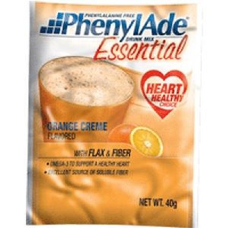 PhenylAde Essential Drink Mix 40g Pouch, 157 Calories, Orange Creme-1 - Calorie Pouch