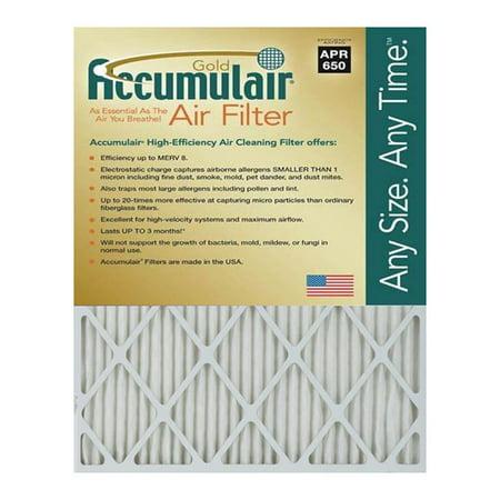 Accumulair Gold 19 25x21 25x0 5 Actual Size MERV 8 Air Filter 4 Pack