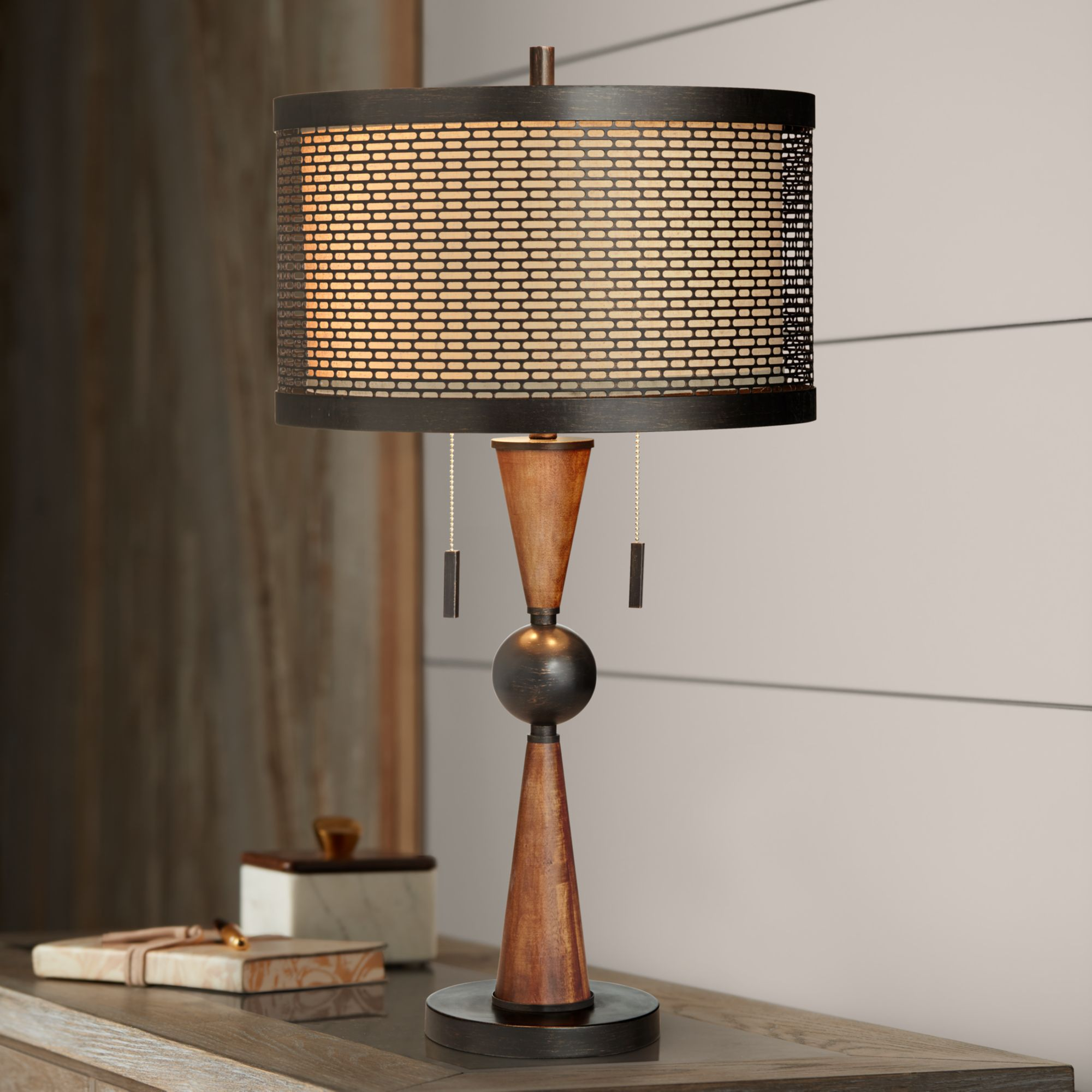 Picture of: Franklin Iron Works Mid Century Modern Table Lamp Wood Bronze Metal Shade For Living Room Family Bedroom Bedside Nightstand Office Walmart Com Walmart Com