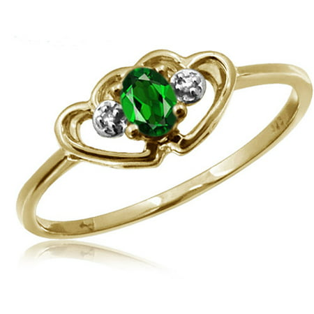 JewelersClub 0.19 Carat T.G.W. Chrome Diopside Gemstone and Accent White Diamond Ring