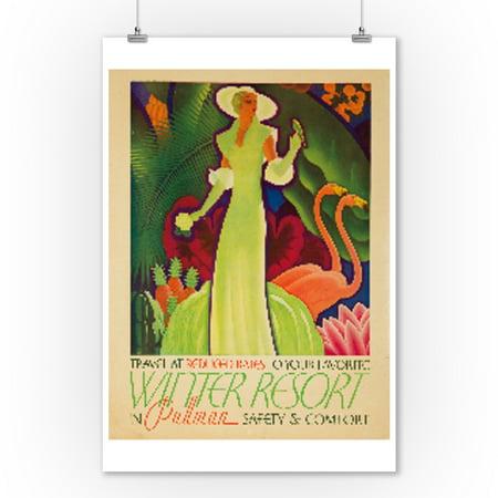Pullman - Winter Resort Vintage Poster (artist: Welsh) USA c. 1934 (9x12 Art Print, Wall Decor Travel
