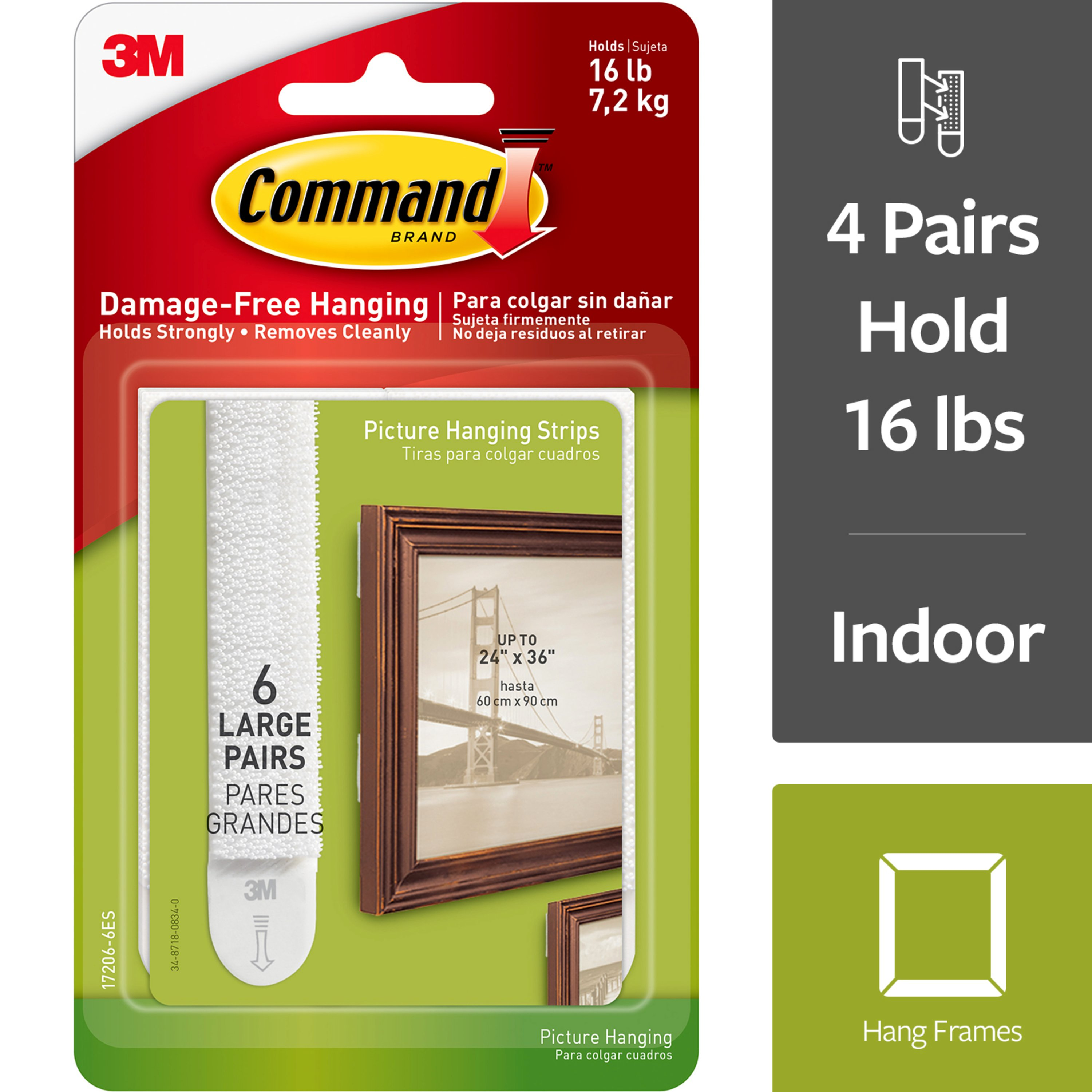 3M Command Picture Hanging Strips, White, Decorate without Tools, Create Gallery Walls, Multi-Pack, Hangs up to 3 frames