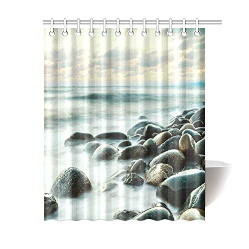 GCKG Long Exposure Of Sea Rocks And Stones Shower Curtain Teal