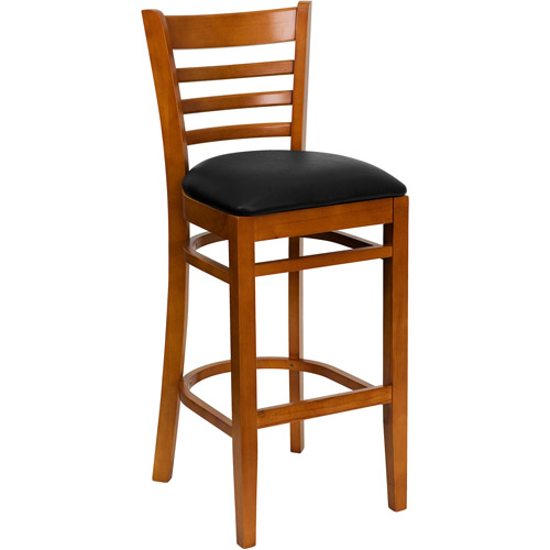 "Ladder Back Bar Stool 31"", Cherry and Black"