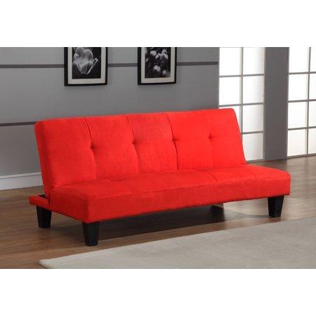 Red Microfiber Fabric Tufted Klick Klack Sofa Futon