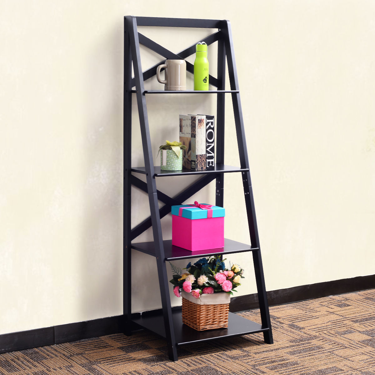 4 Tier Ladder Shelf Bookshelf Bookcase Storage Display Leaning Home Office Decor