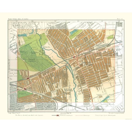 Great London Map.Old Great Britain Map Great Ilford London Philips 1904 28 27 X 23