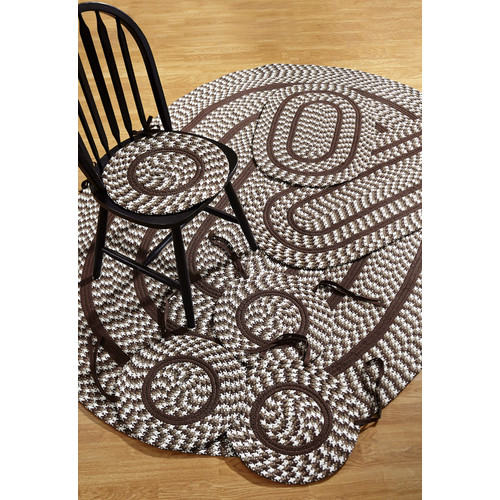 Crescent Braided Rug 7-Piece Set with Room Size Rug and Accessories, Chocolate by Pam Overseas LLC
