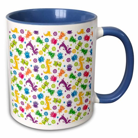 Sci Fi Geek Mug - 3dRose Silly Crazy Colorful Cartoon Monsters And Aliens Cartoon Sci-Fi Pattern - Two Tone Blue Mug, 11-ounce