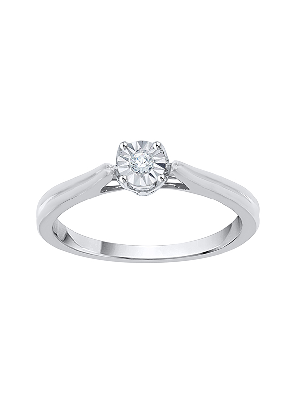 G-H,I2-I3 Size-13 1//20 cttw, 3 Diamond Promise Ring in 14K Yellow Gold