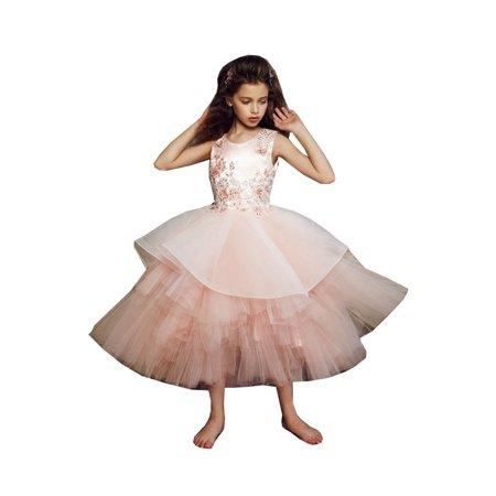 Girls Blush 3D Applique Alluring Junior Bridesmaid Dress