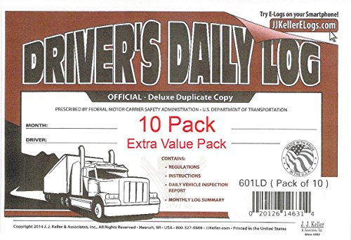 J.J. Keller 8525 (601LD) Deluxe Drivers Daily Log Book with Detailed DVIR, Pack of 10 by J.J. Keller