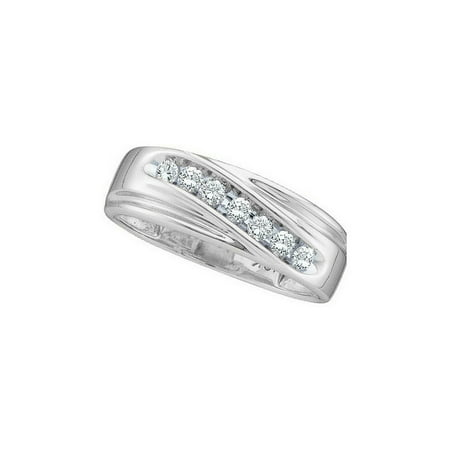 10kt White Gold Mens Round Channel-set Diamond Single Row Wedding Band Ring 1/4 (One Of A Kind Mens Wedding Bands)