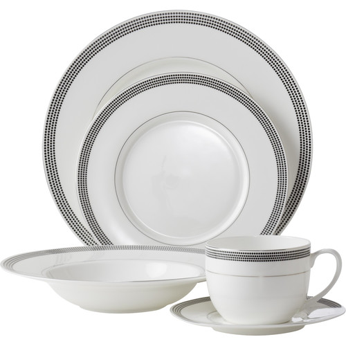 Flato Home Products Bone China Inspiration Pearl 5 Piece Place Setting, Service for 1 by Flato Home Products