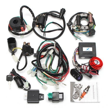 Two Holes Full Electrics Wiring Harness Coil CDI Engine Accessories 50cc 70cc 110cc 125cc ATV+Remote Start Switch