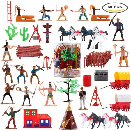 Toy Soldiers Indians Cowboys West for Kids Plastic Figures Play set Gift Indians Plastic Figures Bucket Play set, Boy's War Game Educational Party Toy 60 PCs F-08
