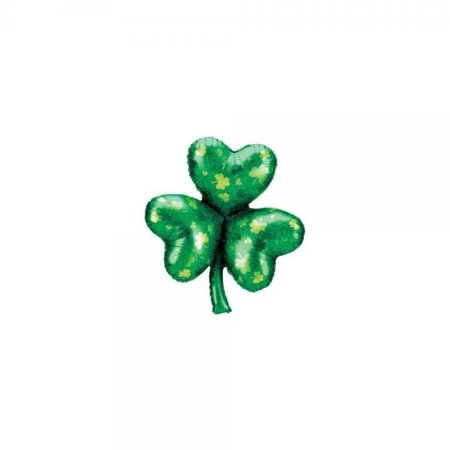 St. Patricks Day Holographic Shamrock 33in Balloon by Factory Card and Party Outlet for $<!---->