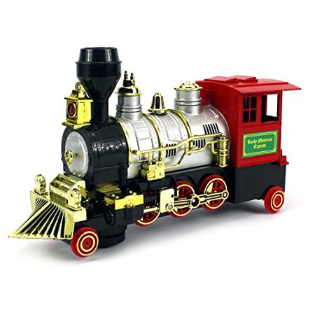 Rocky Mountain Battery Operated Bump and Go Toy Train w/ Real Train Horn, Working Headlight (Real Good Toys)