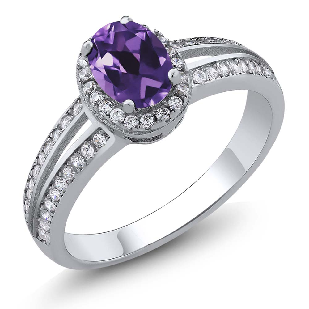 Sterling Silver Natural Purple Amethyst Women's Ring 0.95 Carat Sizes 5 to 9