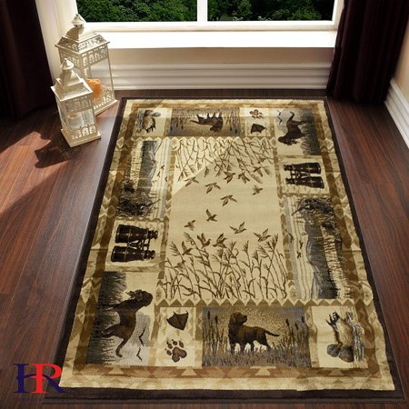 Lodge, Cabin Hunting Accent Area Rug - Modern Geometric Design Cabin Area Rug - Abstract, Multicolor Design- Hunting Dogs/Duck/Magnifier