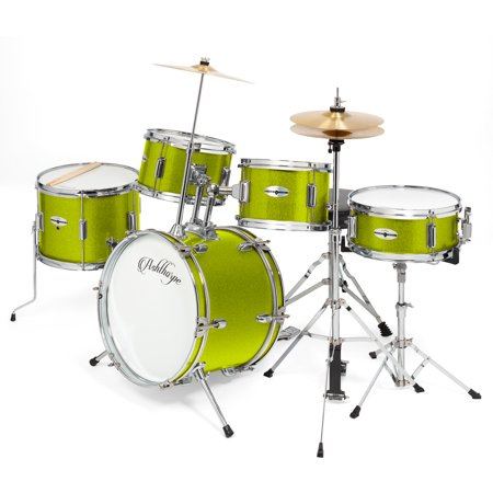 Brass Yamaha Drum (Ashthorpe 5-Piece Complete Kid's Junior Drum Set with Genuine Brass Cymbals - Children's Professional Kit with 16