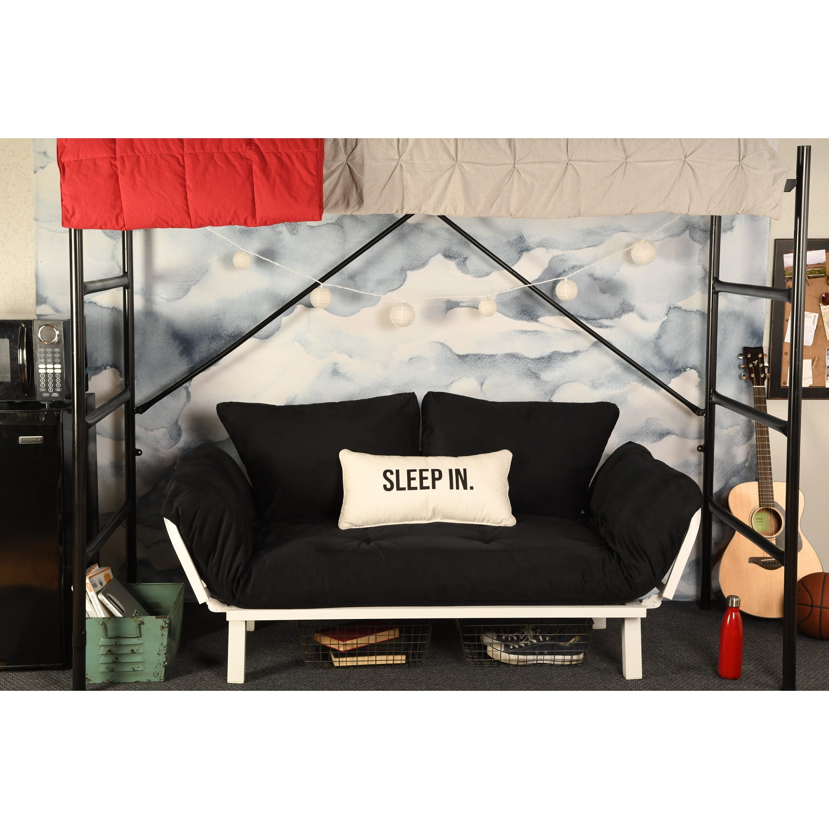 Somette  Dorm Dreamer Futon with White Metal Finish