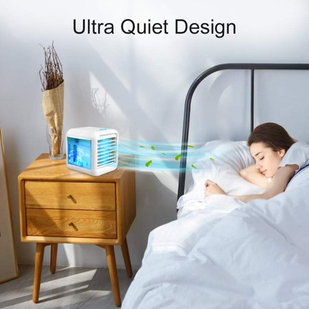 Ultra-Quiet Personal Air Cooler, USB Evaporative Coolers with Waterbox, Multifunctional Fan with LED Light and 3 Fan Speed, USB Charging, Suitable for Home Office Bedroom Kids - image 6 de 9