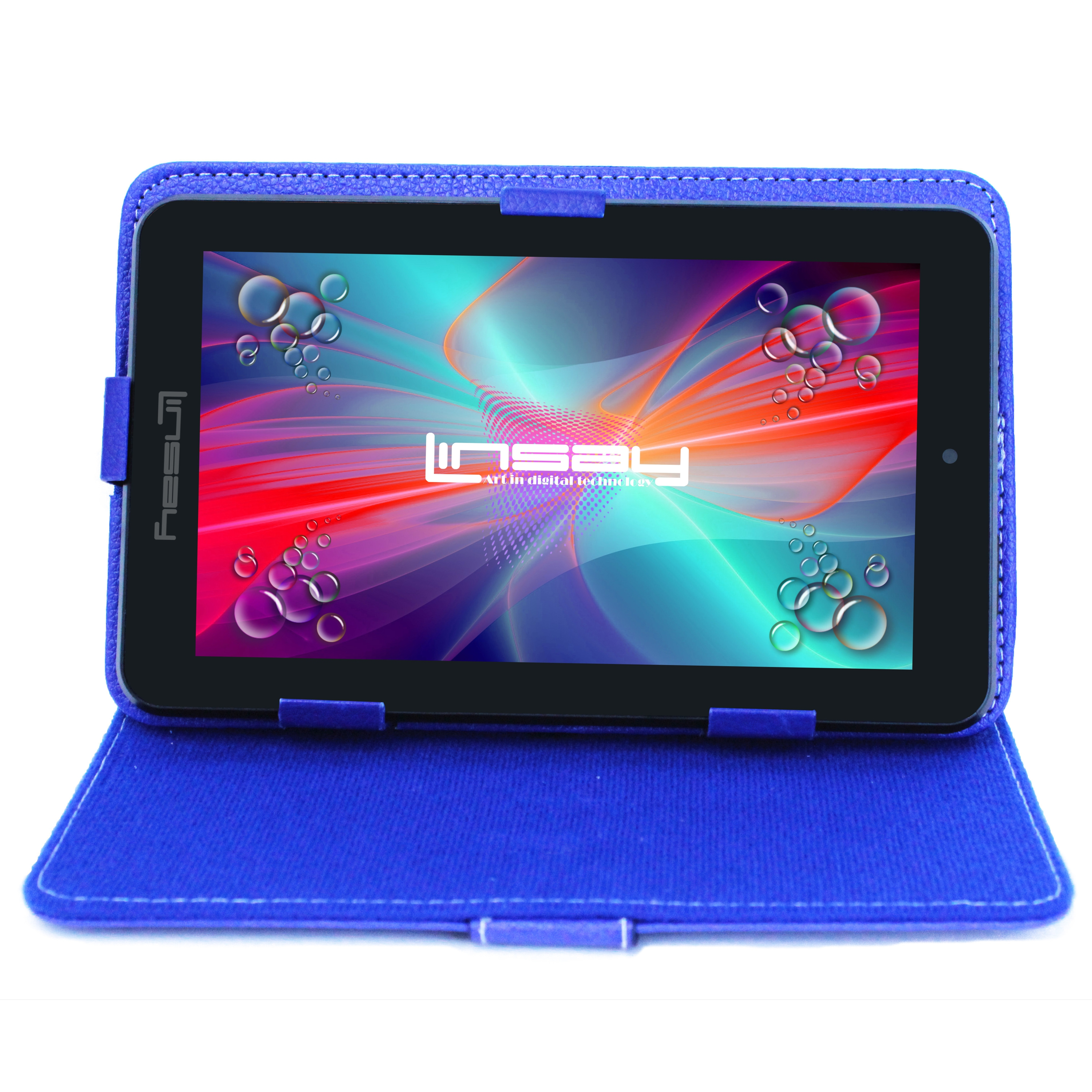 "LINSAY 7"" 1024x600 HD Touchscreen Tablet PC Featuring Android 6.0 Operating System Bundle with Blue Case"