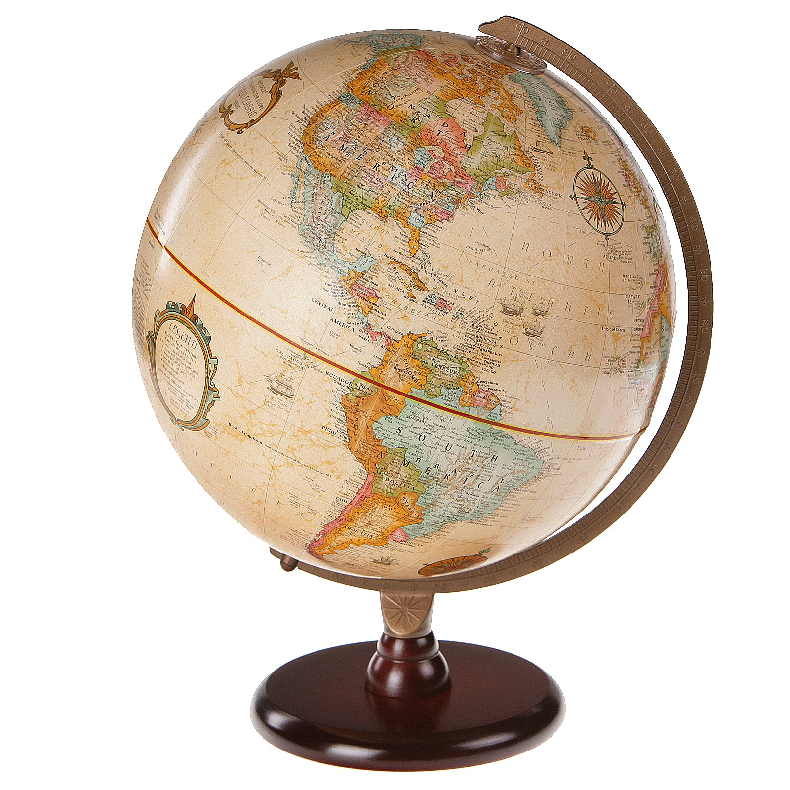 Piedmont Antique Finish 12 Inch Globe w Solid Wood Base