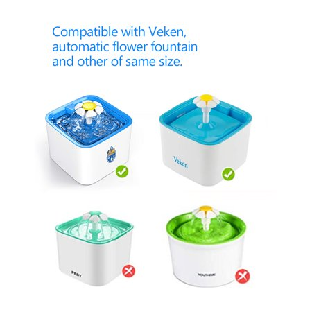 Cat Water Fountain Filters Replacement Filters for Pet Flower Veken Fountain Cat Water Fountain 4PCS - image 6 of 7