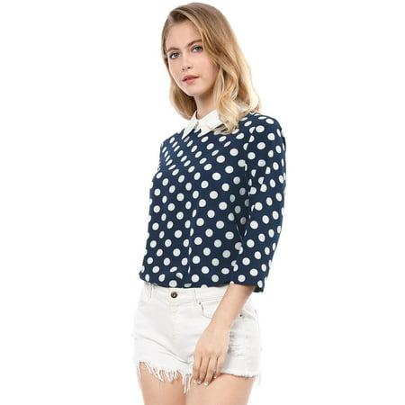 Women's' Contrast Peter Pan Collar Polka Dots Blouse top L Blue