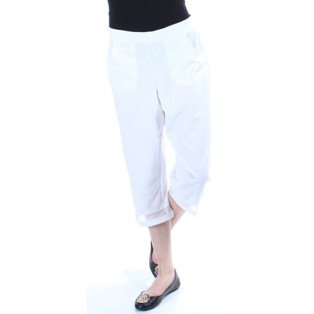 - ALFRED DUNNER Womens White Moisture Wicking Cropped Pants Petites  Size: 6