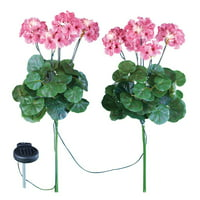 Geranium Flowers Solar Light Garden Stakes, Set of 2