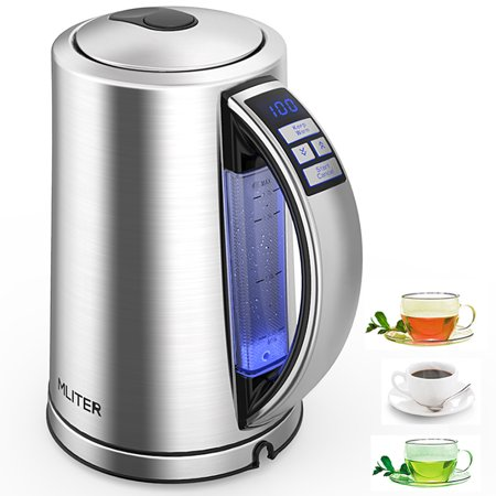 Mliter Electric Kettle Temperature Control Stainless Steel 1.7 L Tea Kettle, BPA-Free Hot Water Boiler Cordless with LED Indicator, Auto Shut-Off, Boil-Dry Protection, Keep Warm, 1500W Fast