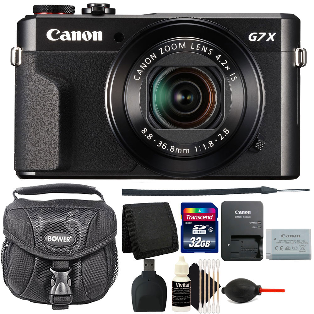 Canon G7X Mark II PowerShot 20.1MP Digital Camera Black with 32GB Accessory Kit