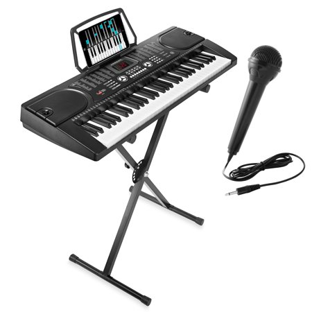 Hamzer 61-Key Electronic Piano Electric Organ Music Keyboard with Stand,  Microphone, & Sticker Sheet - Black