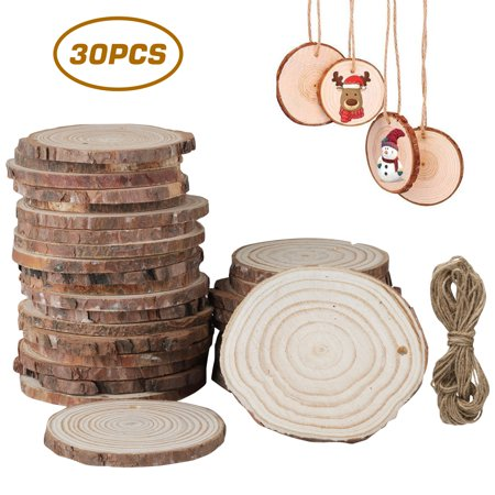 30Pcs Unfinished Wooden Ornaments Wood Slices Predrilled with Hole, EEEKit 2.4