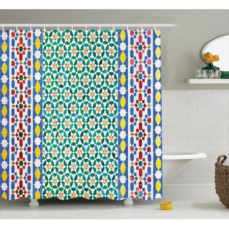 Moroccan Decor Shower Curtain Set Colorful Mosaic Wall Mideast Style Craftsmanship Vertical Details