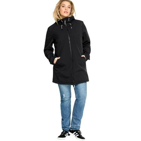 Ellos Plus Size Zip Front Bonded Fleece Jacket Banded Zip Jacket